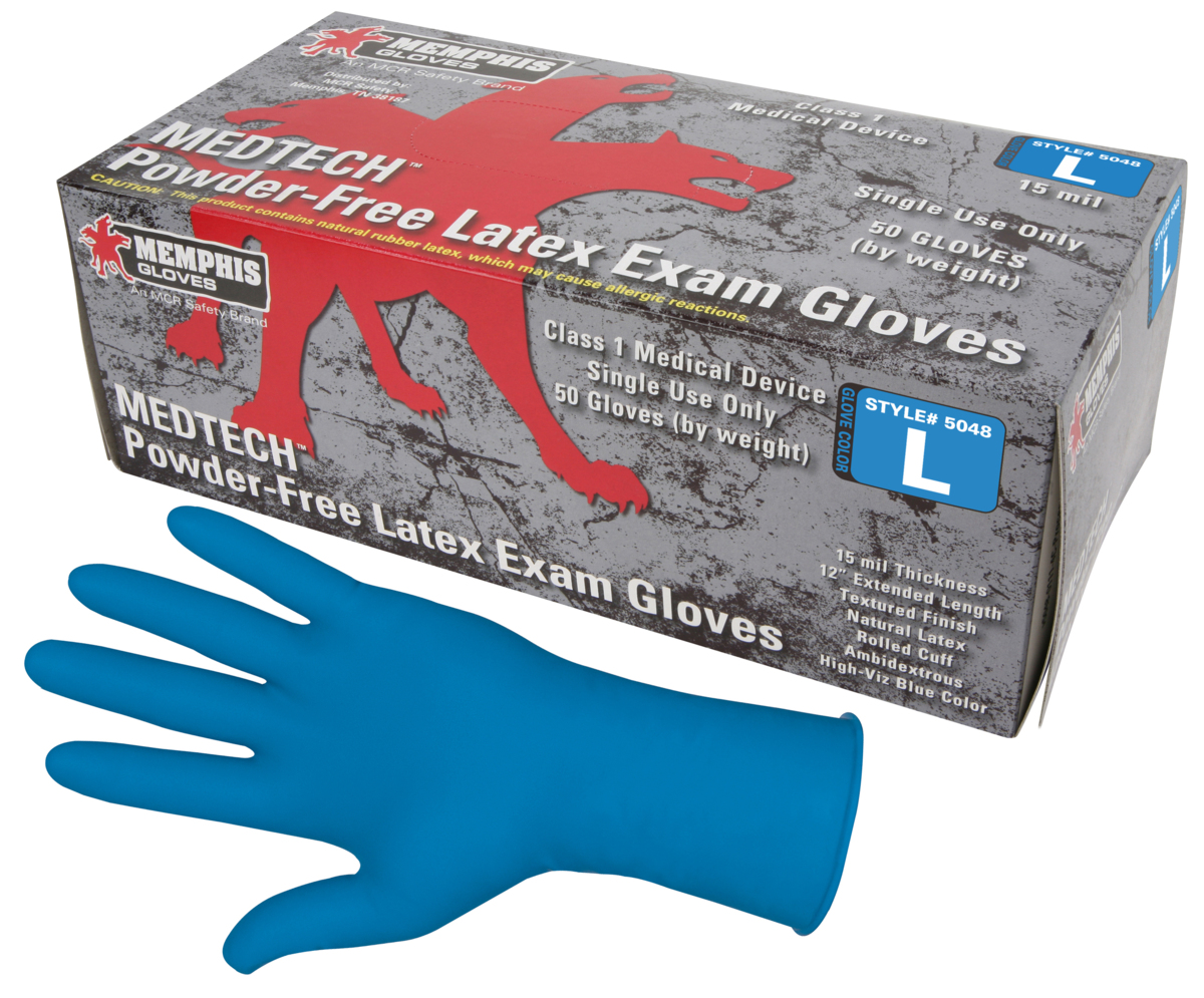 MCR, MedTech Exam Gloves, X-Large, Blue, Latex, 15 mil,