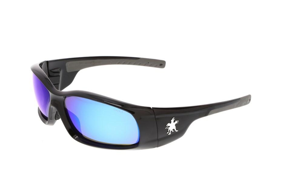 MCR CREWS SWAGGER SAFETY GLASSES SR118B BLACK FRAME//BLUE MIRROR LENS SUNGLASSES