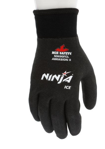 Memphis Glove N9690FCL Ninja Ice FC Nylon Back Double Layer Gloves with Full Dipped HPT Coating Black Large 1-Pair