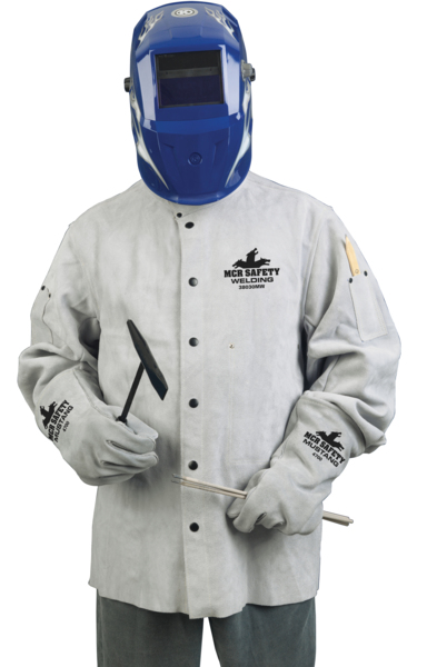 Gray MCR Safety 38030MW 30-Inch Memphis Split Cow Leather Welding Jacket