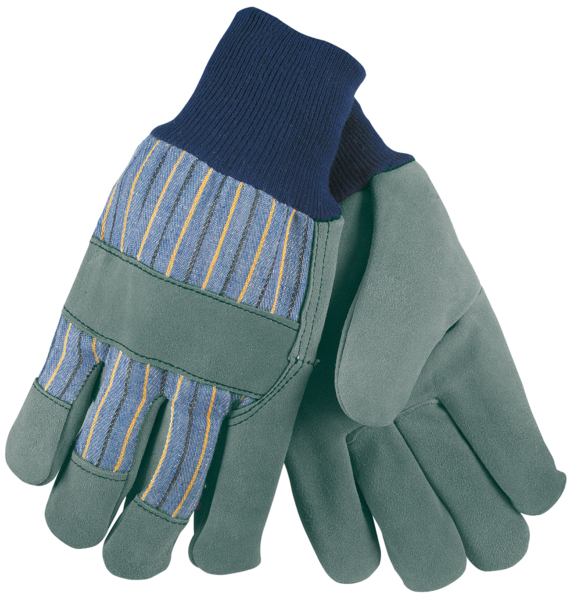 Yellow X-Large MCR Safety 4550 Split Cow Leather Foundry Welder Gloves with Split Clute Back and Fleece Foam Lined
