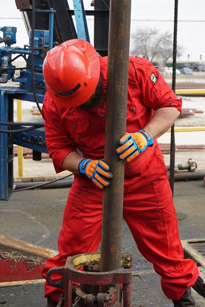 Oil Rig Worker with D3O Gloves