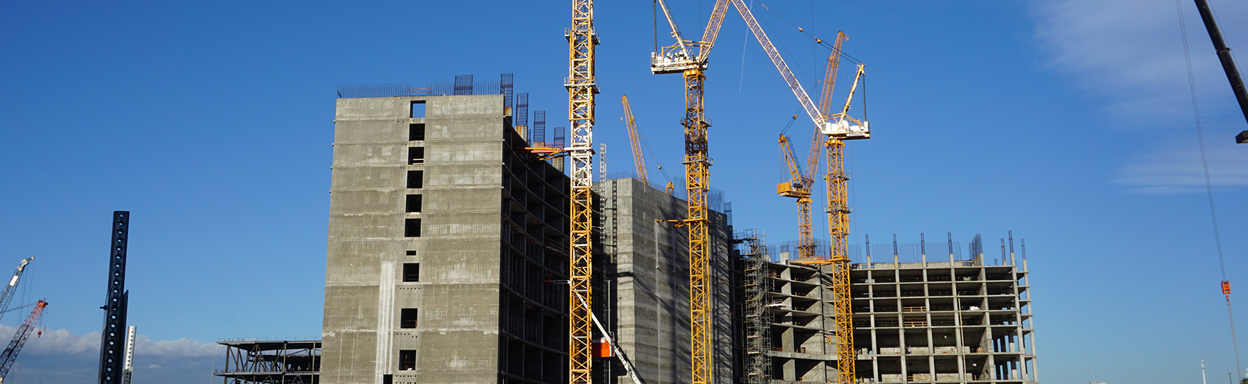 Commercial Construction with Cranes