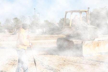 Foggy Construction Site