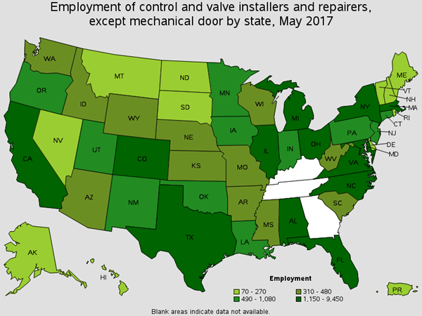 Employment of Control and Valve Installers and Repairers