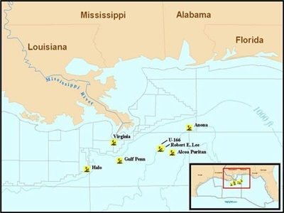 Gulf of Mexico Ships Sunk