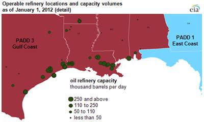 Texas and Louisiana Refinery Locations