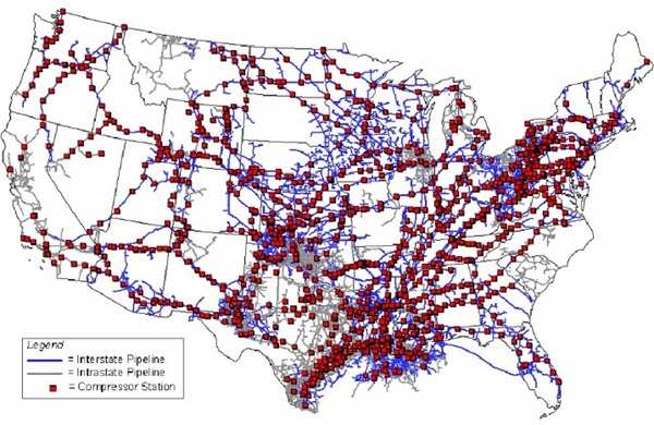 Visual Map of US Natural Gas pipelines