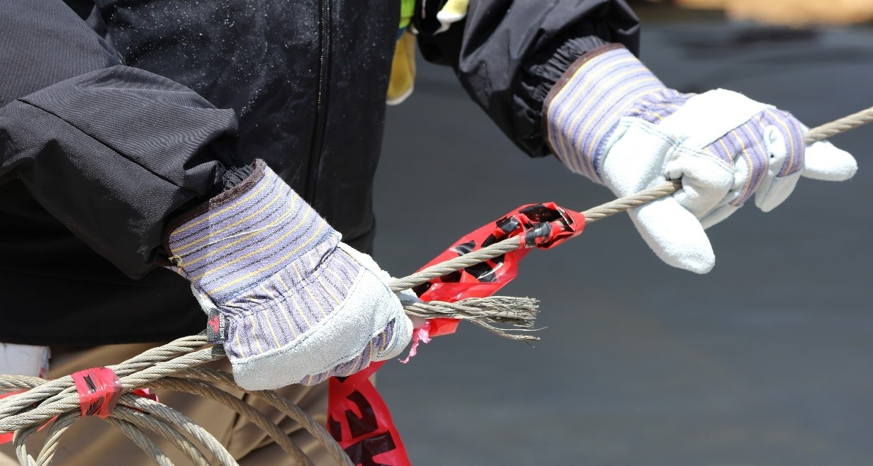 Gloves gripping cable