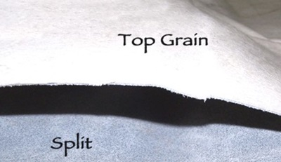 Example of Top Grain vs. Split Leather